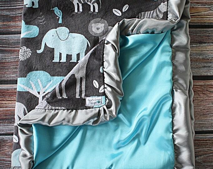 Baby Blanket, Minky blanket, jungle minky, aqua minky, grey and aqua, Animal minky, baby boy, blanket for baby, soft blanket, ruffle blanket