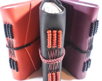 Custom Blank Book Beaded Leather Cover 3 x 5