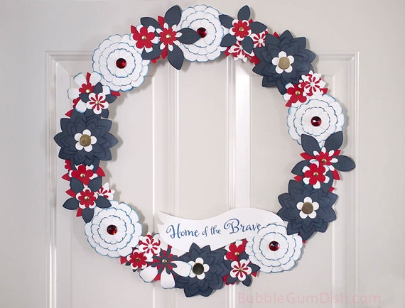 Independence Day Military Homecoming Wreath Home of the Brave Red White Blue Paper Flowers 18 inch Fourth of July