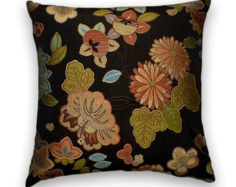 Green Orange Decorative Pillow Cover--Black Ground-- Accent Throw Pillow Cover-- Floral Pillow Cover