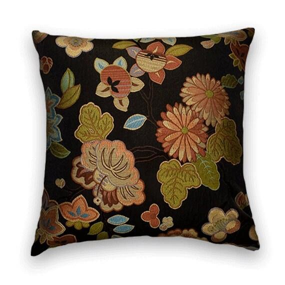 Green Orange Decorative Pillow CoverBlack Ground Accent