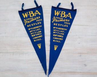 vintage 1955 WBA B Grade premiers felt pennant flag pair