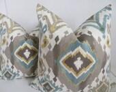 Ikat Pillow Covers,Turquoise Ikat Pillows,Decoartive IKat Pillows,Gray Pillow Covers, Yellow Musard Pillows, Light brown Ikat Pillow Covers
