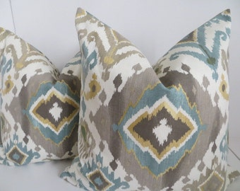 Ikat Pillow Covers,Turquoise Ikat Pillows,Decoartive IKat Pillows,Gray Pillow Covers, Yellow Musard Pillows, Light brown Ikat Pillow Covers