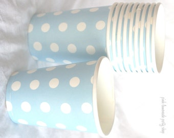 PaRTy CuPs BLue PolKa Dot-with free DIY printable label option--Birthday parties---10ct