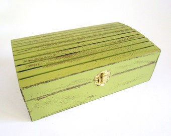 Distressed Lime Green Wooden Jewelry / Keepsake / Memory / Make-up Box - Rustic Jewelry Box