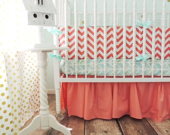 Aqua and Coral Crib Bedding with Coral Chevron Bumper and Aqua Herringbone Sheet, Watercolor Herringbone, Coral Crib Skirt, Baby Girl Crib