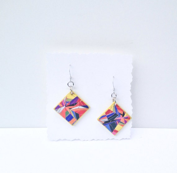 Handmade Abstract Yellow Earrings / Geometric Jewelry / Yellow and Bright Colors
