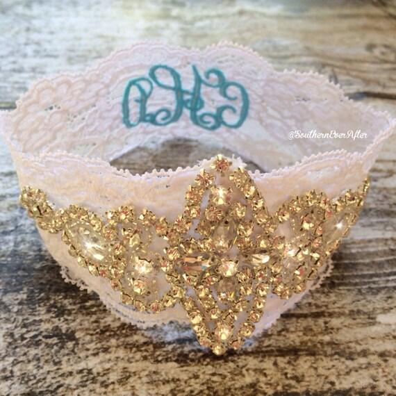 WEDDING MONOGRAMMED GARTER / Vintage inspired / Something Blue / initials garter / lace garter / toss garter / Lace garter