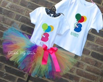 Boy/Girl Twin Balloon Themed Birthday Outfits-Twin Balloon Party-Balloon Party Tutu Outfit-Hot Air Balloon Birthday Outfit-Balloon Party