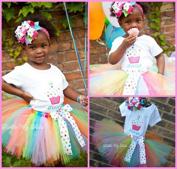 Cupcake Cutie Birthday Tutu Outfit-Cupcake Birthday Outfit-Cupcake Themed Birthday Tutu Outfit-Rainbow Cupcake Tutu *Bow NOT Included*