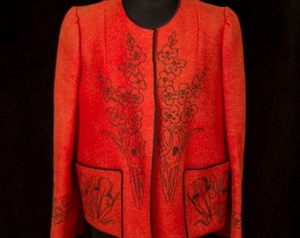 1940s Jacket // Wool Felt Flower Embroidered Coat in Burnt Pumpkin