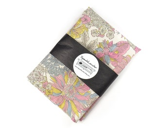 Wedding Mens Pocket Square pink, yellow and grey flowers