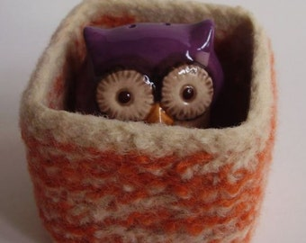 wee felted wool bowl square container eco friendly storage orange and cream