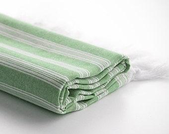 Turkish Towel for Beach, Extra Thin Peshtemal, Fouta, Pestemal - Green
