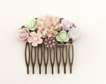Wedding Hair Comb Bridal Hair Accessories Mint Green PInk Soft Lilac Blush Pastel Flower Collage Floral Headpiece Romantic Bridesmaids PM