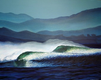 "Surf Art/ Pacific Perfection Fine Art Print 11"" x 14""/ Giclee on Canvas/ Surf Art"