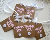 6 Kraft Paper & Pink Thank You Gift Tags- Wedding Party Thank You Gift Tags - Parcel Gift Tags - Ready to Ship