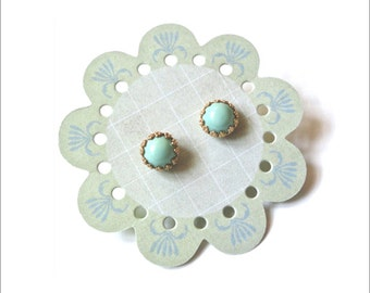 Mint Seafoam Earrings - Small Round Studs with Gold or Silver Setting