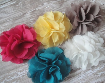 Chiffon Flower Clip, Barrette, Brooch, Bobby Pin or Magnet (13 Colors)- Perfect for Weddings, Flower Girls and Bridesmaids