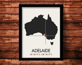 Adelaide Map Print   Adelaide Map Art   Adelaide Print   Adelaide Gift   Australia Map   11 x 14 Print