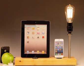 Docking stations and chargers for ANY iPhone/iPad  AND table lamp. Recycled wood. Edison bulb. USB wall charger. Hi/Low dimmer. (616)