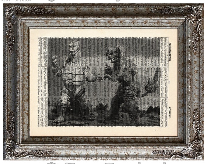 MechaGodzilla vs King Caesar on Vintage Upcycled  Dictionary Art Print Book Art Print Recycled Movie Monster bookworm gift