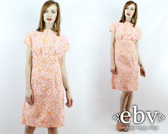 1970s Dress Pink Floral Dress Hippie Dress Hippy Dress Summer Dress Floral Dress Pink Dress Vintage 70s Flower Power Mini Dress S M