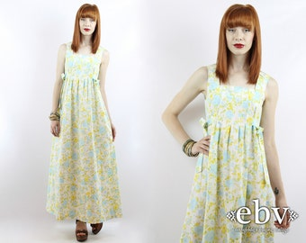 Handmade Hippie Dress Festival Dress 1970s Dress 70s Dress Handmade Dress Vintage 70s Floral Dress Boho Dress Maxi Dress Hippy Dress