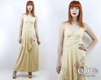 Vintage 70s Buttercream Floral Maxi Dress XS S Hippie Dress Hippy Dress Boho Dress Floral Dress Summer Dress Hippie Wedding Dress