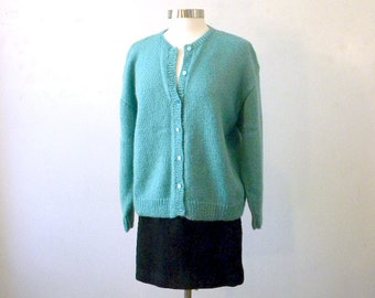 Oversized Cardigan / Hand Knitted Sweater / Slouchy Grandpa Sweater / Vintage Cardi Aqua Blue / Plus Size / Large