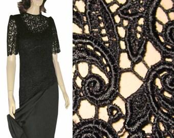 UNWORN 80s CATTIVA New York Dramatic Black Lace Overlay Dip Waist Dress size 8 Orig Tags