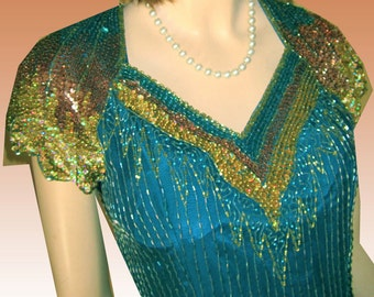80s PRECIOUS FORMALS Godiva Gown Dripping in Beads Sequins UNWORN Bust 38 Aqua Bronze Gold