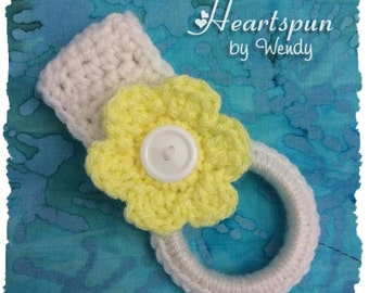 ANY COLOR towel ring holder with any COLOR flower, great for holding dish or hand towels in the kitchen, bathroom, laundry, nursery, garage