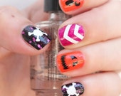 NAILED IT DECALS: 1 Sheet of Skull and Crossbones, Jack O Lantern and Single Chevron Halloween Themed Nail Decals (You Pick the Color)