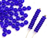 Cobalt blue czech glass spacer beads, rondels, dark blue, rondelle, pressed beads - 4mm - approx. 130pc - 2940