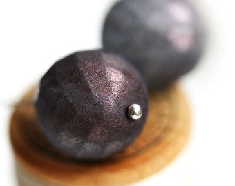14mm Round beads - Dusty Purple Grey, tumbled finish - fire polished, czech glass, large - 4Pc - 2340