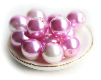 8mm Pink and White Round Faux pearls, czech glass beads, druk - 20Pc - 0649