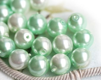 Faux pearls - Mint and White - czech glass beads, round, druk - 8mm - 20Pc - 0757
