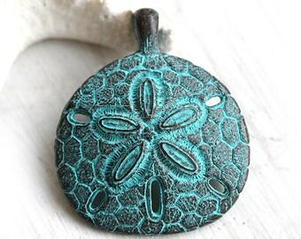 Huge Sand dollar pendant bead, Green patina on copper, Greek, Lead Free, 48mm - F191