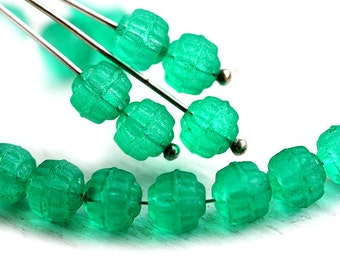 Matte Teal Green beads, czech glass beads, cathedral, round, teal beads, fire polished, coated - 6mm - 25Pc - 1345