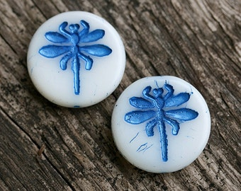 Dragonfly czech glass beads - glitter Blue, White - flat, large, round, tablet shape - 23mm - 2Pc - 0291