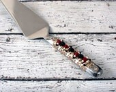SPECIAL OCCASIONS Red, Black, Ivory & Gold Beaded Cake Server, wedding gift, bridal, couture tabletop, custom, dessert server