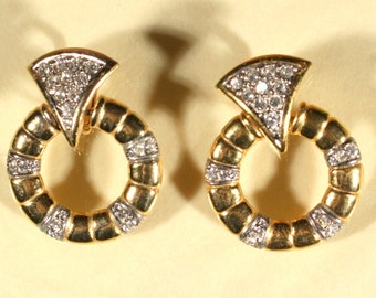 Vintage 80s Earrings Gold Tone Earrings Rhinestones Earrings Clip On French Jewellery