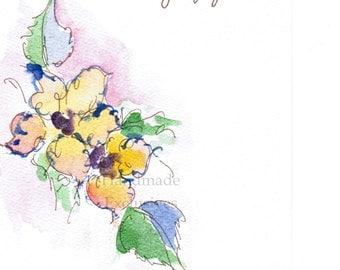 Handpainted Note Card Greeting Card Valentine day Any occasion Wildflowers Floral Original Watercolor Gardening home decor