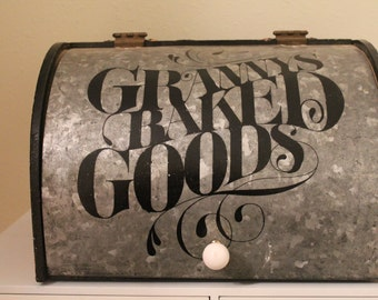 Rooster Up Cycled Bread Box.  Metal Flip Door..Stamped Lettering..Kitchen Decor..Rooster Kitchen..Country Kitchen..Housewarming Gift.Home