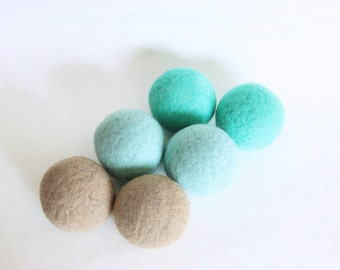 Wool dryer balls set of 6, surf & sand. 100% wool, handmade in Connecticut. Eco friendly natural laundry. Replaces dryer sheets,  softener.