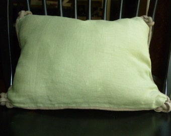 "12"" x 17"" Reversible Linen Sage Green Pillow Cover with Corner Knotted Cording and Invisible Zipper"