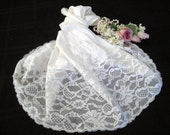1950's Vanity Fair Vintage Half Slip, White, Lavish Wide Lace, Pillow Tab, Size Small GORGEOUS