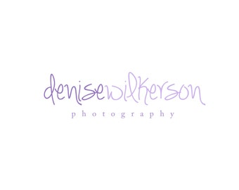 Premade Logo Design for Photographers and Small Crafty Boutiques Two Toned Lilac Handwritten Name Text Only Classic